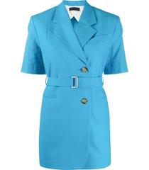 eudon choi short-sleeved blazer - blue