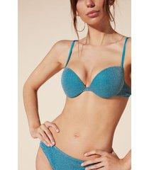 calzedonia federica push-up bikini top woman blue size 4