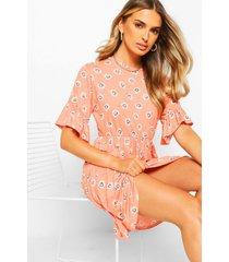 daisy print smock dress, coral