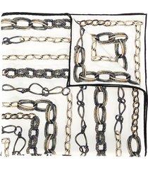 alexander mcqueen chain print bandana scarf - white