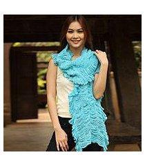 cotton scarf, 'wild turquoise' (thailand)