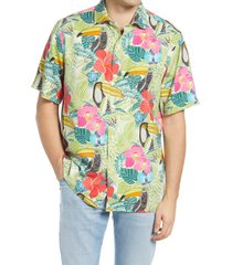 men's tommy bahama if one can toucan floral short sleeve silk men's button-up shirt, size x-large - green