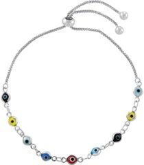 multi color glass guardian eye adjustable bracelet in gold or fine silver plated