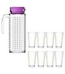 kit 1 jarra de vidro ladrilhos roxa 1,2l  e 8 copos de vidro sture móveis