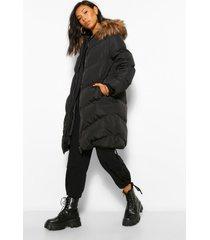 lange gewatteerde jas met faux fur zoom en stiksels, black