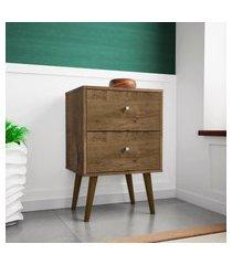 mesa de cabeceira móveis bechara mb2015 2 gavetas madeira rústica