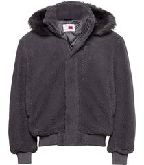 lh cozy hooded bomber jacket bomberjacka jacka grå tommy hilfiger