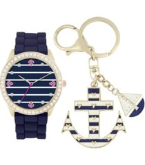 jessica carlyle women's analog navy sailor strap watch 34mm with anchor and boat key chain cubic zirconia gift set