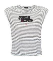 camiseta linho listrada estampada - off white