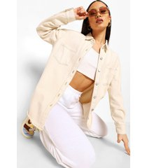 oversized blouse met contrasterende stiksels, ecru