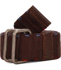 cinturón café-azul-rojo colore