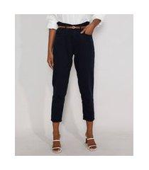 calça de sarja feminina clochard cintura alta com cinto azul marinho
