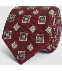 reiss arezzo - wool medallion tie in bordeaux, mens