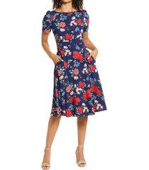 women's harper rose floral crepe a-line dress, size 12 - blue