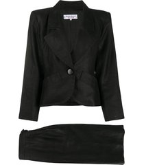 yves saint laurent pre-owned slim-fit skirt suit - black