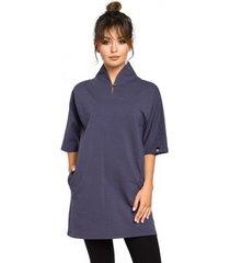 blouse be b043 kimono tuniek - blauw