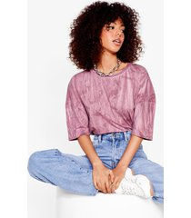womens tie dye your luck relaxed tee - mauve