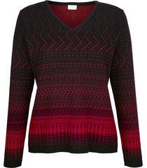 v-ringad tröja mona svart::röd