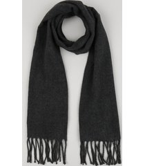 cachecol feminino com franjas cinza mescla escuro