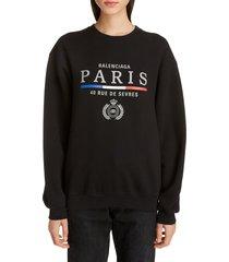 women's balenciaga paris flag print sweatshirt