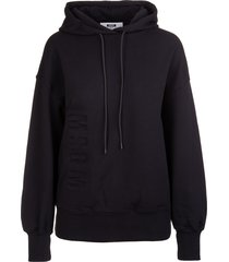 msgm woman black oversize hoodie with embossed vertical logo