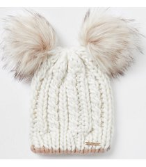river island womens beige cable knit double pom pom beanie hat