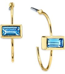 2032 14k gold dipped rectangle crystal open hoop stainless steel post small earrings