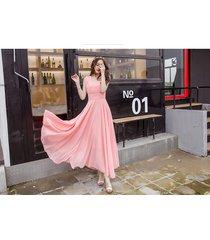 pf253 sexy deep v sleeveless chiffon swing dress  size s-xl, pink