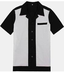 uomo casual camicia in cotone con stile rock bowling