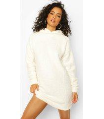 fleece oversized teddy hoodie, ivory