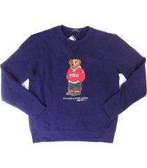 new men's polo ralph lauren polo bear dark blue crew neck sweater shirt