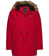 winter weight microfleece lined parka parka jacka röd lyle & scott
