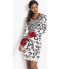 gebreide jurk met luipaardprint