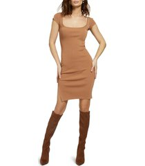 guess rib sweater dress, size x-large in brown at nordstrom