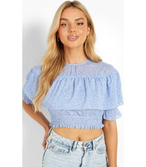 bloemenprint geplooide blouse, blue