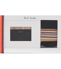 ps paul smith men's card holder and socks gift set - black