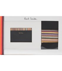 ps paul smith men's card holder and socks gift set - black