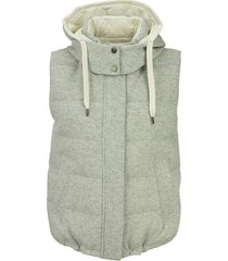 brunello cucinelli cashmere knit reversible down vest with hood and shiny trim
