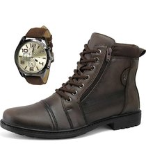 bota coturno casual com zíper sapatofran perfuros tabaco com relógio