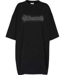 logo embroidered bling bling oversized t-shirt
