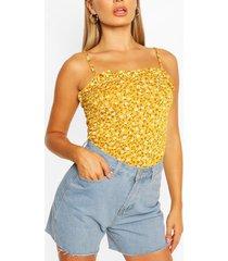 strappy geribd hemdje met kleine print en ruches, mosterd