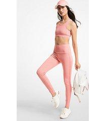mk leggings in nylon stretch con logo - tea rose - michael kors