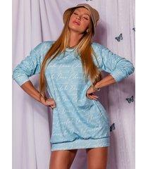 vestido camisetão azul bebãŠ-m - azul - feminino - poliamida - dafiti