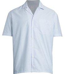 isaia men's horizontal stripe pocket shirt - blue white - size 16.5 42