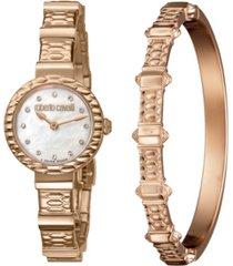 roberto cavalli by franck muller women's diamond swiss quartz rose-tone stainless steel bracelet watch & bracelet gift set, 26mm