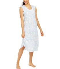 miss elaine lace-trim printed nightgown