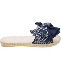 bandana flat sandals with bow blue