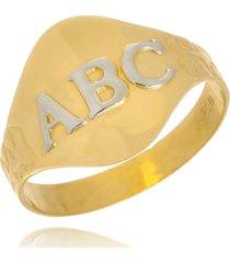 anel boca santa abc - ouro 18k