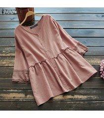 zanzea blusa patchwok de encaje de verano para mujer laides casual camisa con botones sueltos tops plus -rosado