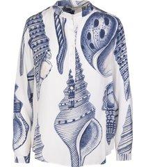 stella mccartney eva shirt in white silk with marine print